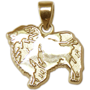 Keeshond Charm or Pendant in Sterling or 14K Gold