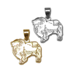 Keeshond Charm or Pendant in Sterling Silver or 14K Gold