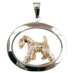 14K Gold or Sterling Silver Tracking Kerry Blue Terrier in Large Glossy Oval Pendant