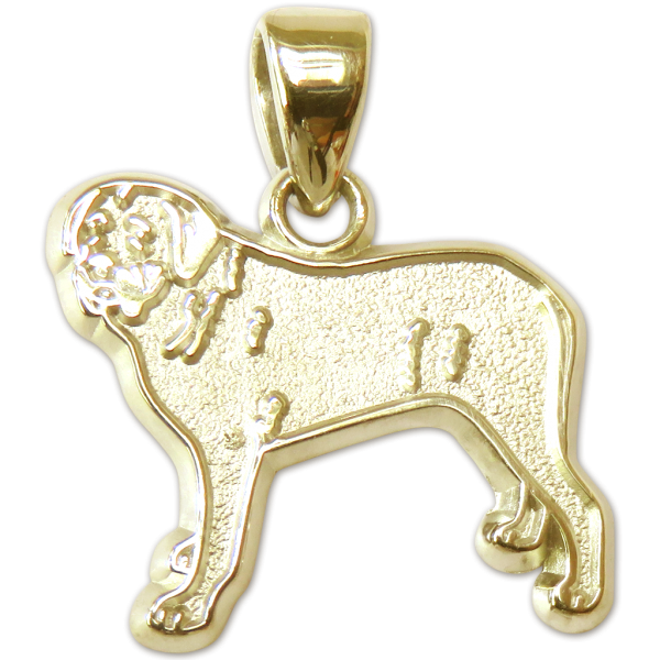Mastiff Charm or Pendant in Sterling or 14K Gold