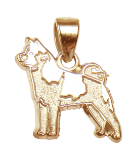 Norwegian Elkhound Charm or Pendant in Sterling or 14K Gold
