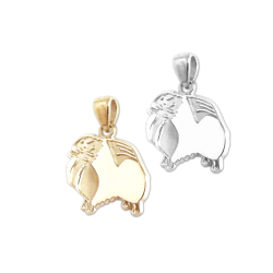 Pomeranian Charm or Pendant in Sterling Silver or 14K Gold