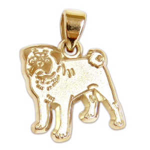 Pug Charm or Pendant in Sterling or 14K Gold