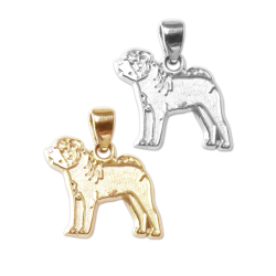 Chinese Shar-Pei Charm or Pendant in Sterling Silver or 14K Gold