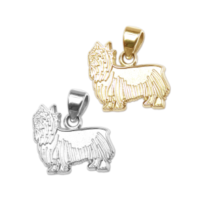 Silky Terrier Charm or Pendant in Sterling Silver or 14K Gold