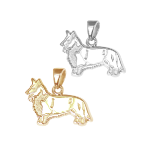 Cardigan Welsh Corgi Charm or Pendant in Sterling Silver or 14K Gold