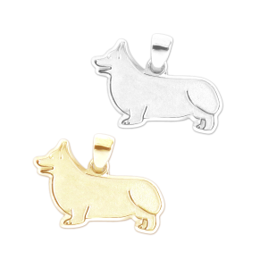 Pembroke Welsh Corgi Charm or Pendant in Sterling Silver or 14K Gold