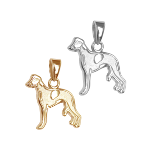 Whippet Charm or Pendant in Sterling Silver or 14K Gold