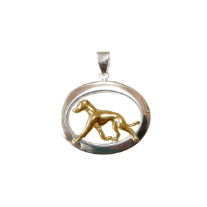 14K Gold or Sterling Silver Whippet in Glossy Oval Pendant