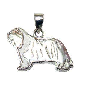 Bearded Collie Charm or Pendant in Sterling or 14K Gold