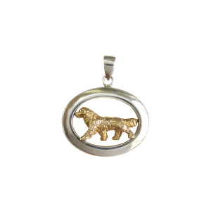 14K Gold or Sterling Silver Trotting Bernese Mountain Dog in Glossy Oval Pendant
