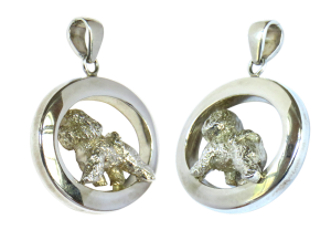 14K Gold or Sterling Silver Trotting Bichon Frise in Glossy Oval Pendant