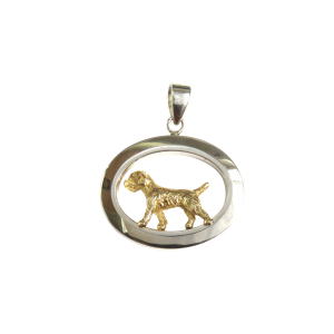 14K Gold or Sterling Silver Trotting Border Terrier in Glossy Oval Pendant