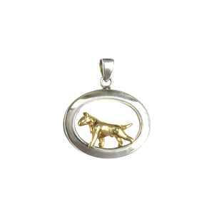 14K Gold or Sterling Silver Bull Terrier in Glossy Oval Pendant
