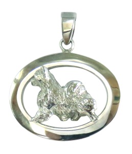 14K Gold or Sterling Silver Longhaired Chihuahua in Glossy Oval Pendant