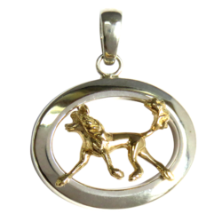 14K Gold or Sterling Chinese Crested in Glossy Oval Pendant