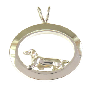 14K Gold or Sterling Silver Trotting Smooth Dachshund in Glossy Oval Pendant