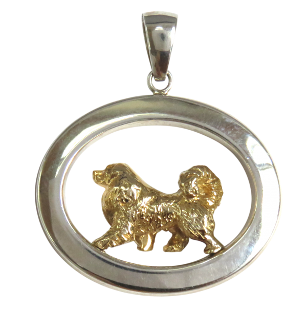 14K Gold or Sterling Great Pyrenees in Large Glossy Oval Pendant
