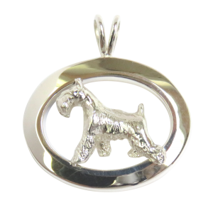 14K Gold or Sterling Silver Miniature Schnauzer in Glossy Oval Pendant