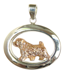 14K Gold or Sterling Silver Norfolk Terrier in Glossy Oval Pendant