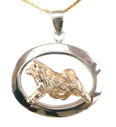 14K Gold or Sterling Silver Norwegian Elkhound in Glossy Oval Pendant