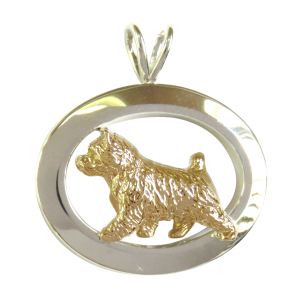 14K Gold or Sterling Silver Norwich Terrier in Glossy Oval Pendant