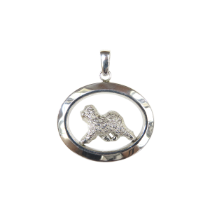 14K Gold or Sterling Silver Old English Sheepdog in Glossy Oval Pendant