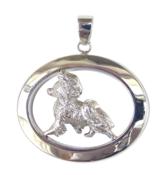 14K Gold or Sterling Silver Papillion in Glossy Oval Pendant
