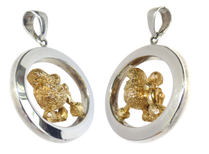 14K Gold or Sterling Silver Poodle in Large Glossy Oval Pendant