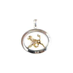 14K Gold or Sterling Silver Portuguese Water Dog Lion Cut in Large Glossy Oval Pendant
