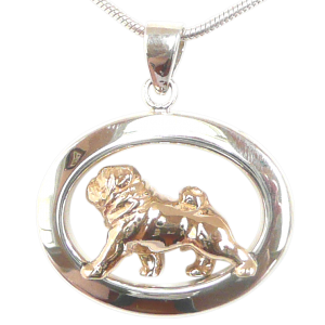14K Gold or Sterling Silver Pug in Glossy Oval Pendant