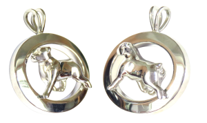 14K Gold or Sterling Silver Rottweiler in Glossy Oval Pendant
