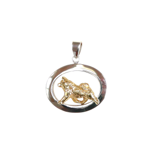 14K Gold or Sterling Silver Samoyed in Glossy Oval Pendant