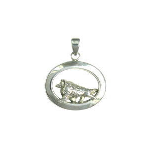 14K Gold or Sterling Silver Shetland Sheepdog - Sheltie - in Glossy Oval Pendant