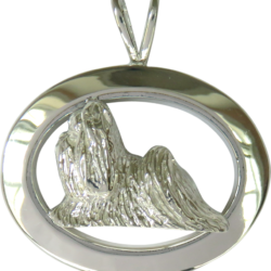 14K Gold or Sterling Silver Shih Tzu in Glossy Oval Pendant