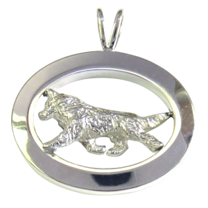 14K Gold or Sterling Silver Siberian Husky in Glossy Oval Pendant