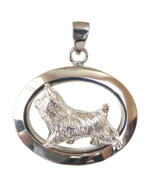 14K Gold or Sterling Silver Silky Terrier in Glossy Oval Pendant