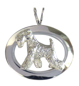 14K Gold or Sterling Large Soft Coated Wheaten Terrier in Glossy Oval Pendant