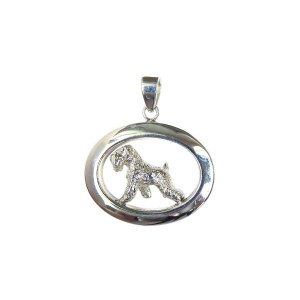 14K Gold or Sterling Small Soft Coated Wheaten Terrier in Glossy Oval Pendant