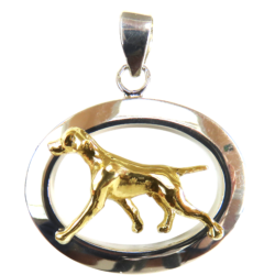 14K Gold or Sterling Silver Vizsla in Glossy Oval Pendant
