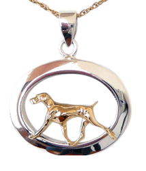 14K Gold or Sterling Weimaraner in Glossy Oval Pendant
