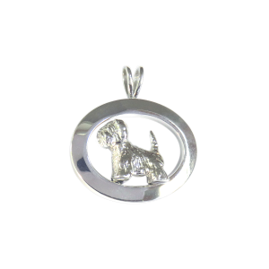 14K Gold or Sterling West Highland White Terrier - Westie - in Glossy Oval Pendant