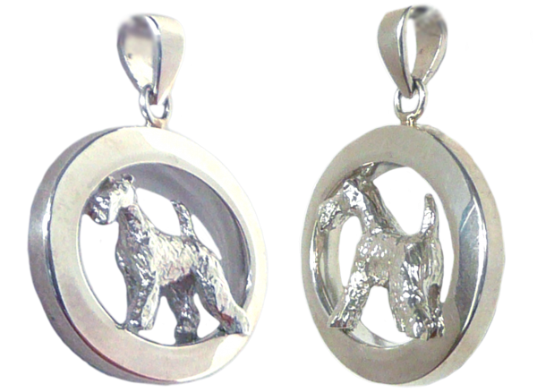 14K Gold or Sterling Wire Fox Terrier in Glossy Oval