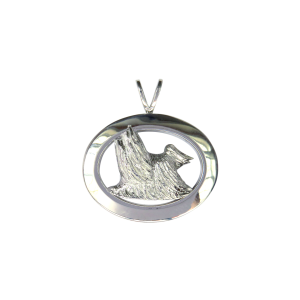 14K Gold or Sterling Silver Yorkshire Terrier - Yorkie- in Glossy Oval Pendant