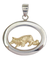 14K Gold or Sterling Silver Border Collie in Glossy Oval Pendant