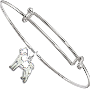 Akita Bangle Bracelet with Solid Sterling Charm