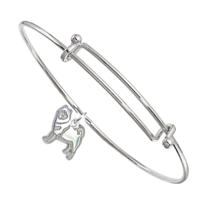 Sterling Silver Alaskan Malamute Charm Pendant on Bangle Bracelet