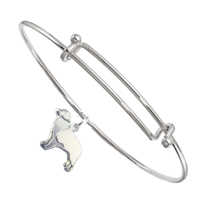 Sterling Silver Australian Shepherd Charm Pendant on Bangle Bracelet