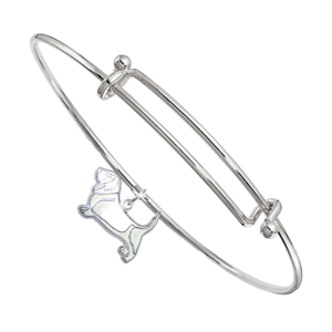 Sterling Silver Basset Hound Charm Pendant on Bangle Bracelet