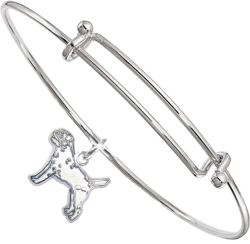 Sterling Silver Border Terrier Charm on Bangle Bracelet